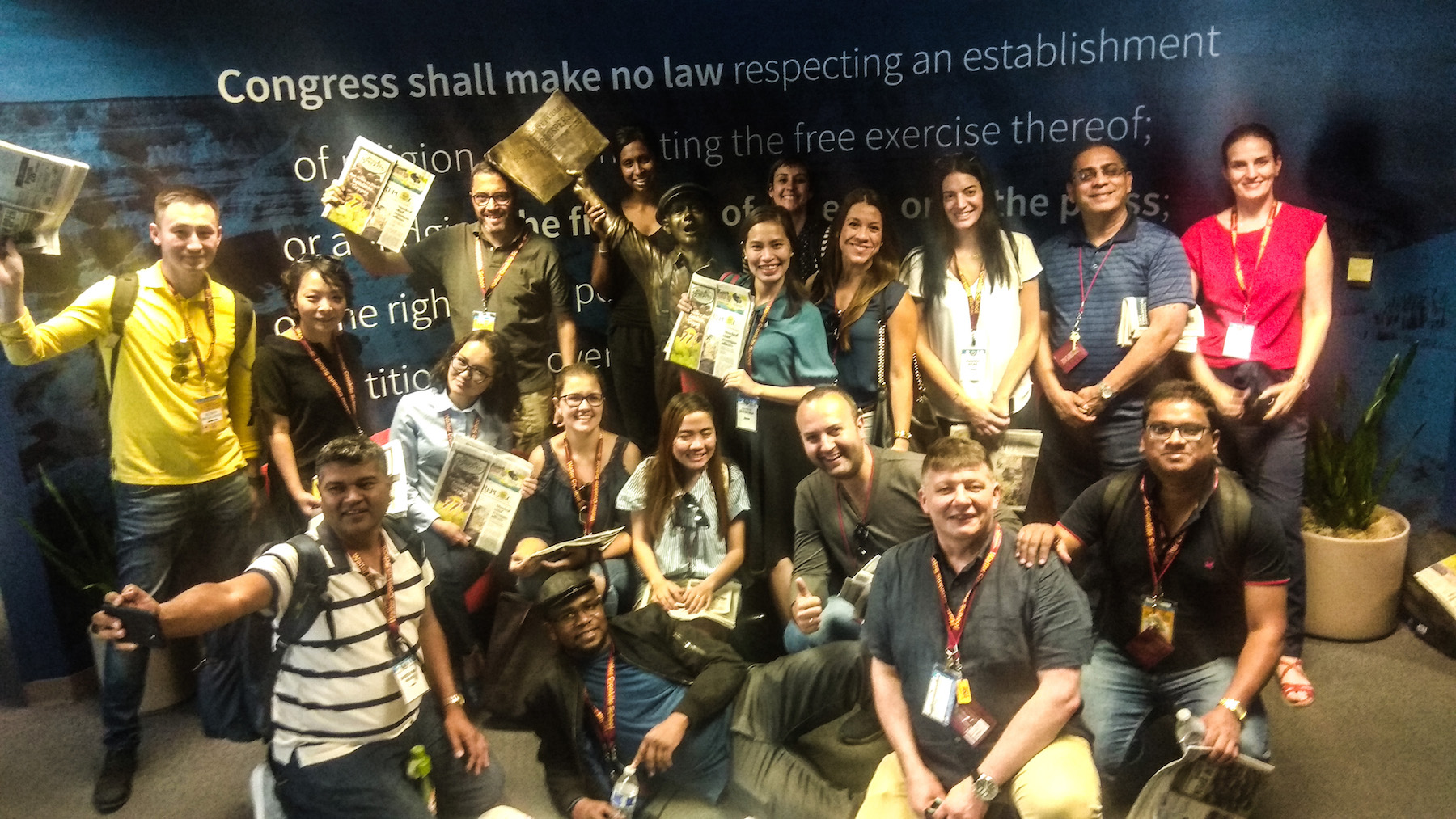 SUSI 2019 team poses at the entrance of The Arizona Republic after the tour of the news room