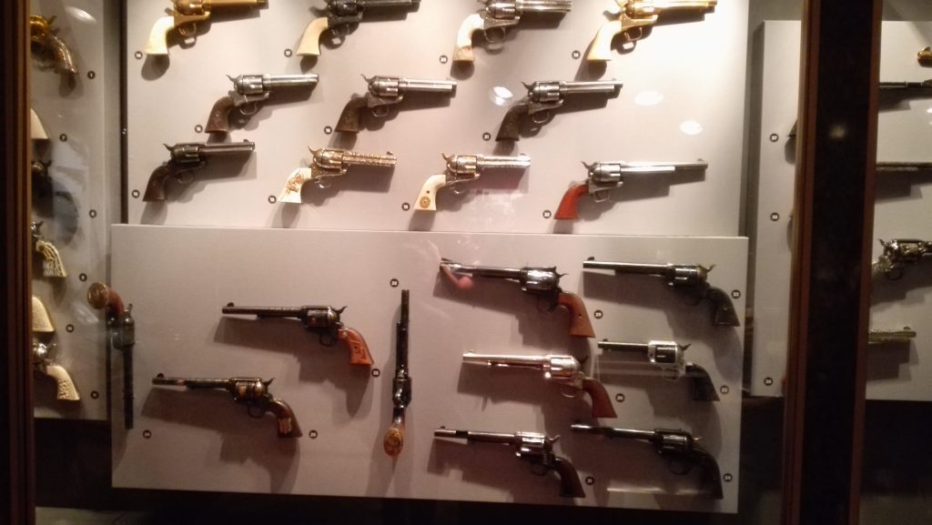 Display of vintage pistols
