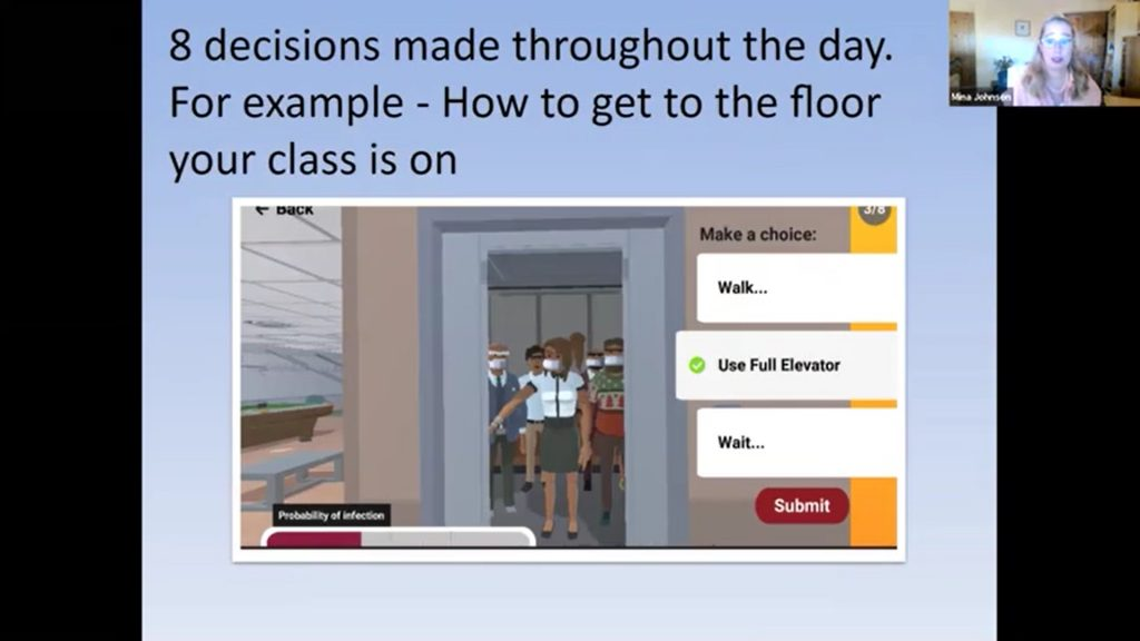 Image of a digital game about decision making, from a presentation by Dr. Mina Johnson-Glenberg
