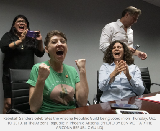 Photo of Rebekah Sanders celebrating the successful establishment of the Guild in October 2019